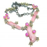 One of the kind genuine Pink Opal .925 Sterling Silver handmade Necklace