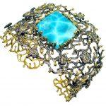 Baroque Style Genuine Blue Larimar 18 ct Gold Rhodium plated over Sterling Silver handmade Bracelet Cuff