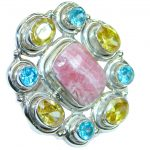 Huge Exotic Rhodochrosite .925 Sterling Silver handcrafted Cocktail Ring s. 7 3/4