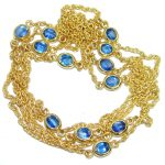 36 inches genuine Sapphire Gold plated over .925 Sterling Silver handmade Necklace