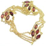 36 inches genuine Garnet Gold plated over .925 Sterling Silver handmade Necklace