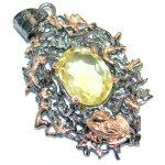 Golden Pound Genuine Citrine Rose gold over .925 Sterling Silver handcrafted pendant