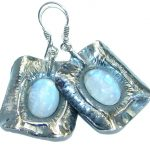 Back in Time Fire Moonstone oxidized .925 Sterling Silver handmade earrings