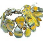 Jumbo Aura Of Beauty natural Bumble Bee Jasper .925 Sterling Silver handmade bracelet