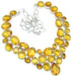 One of the kind Nature inspired simulated Citrine .925 Sterling Silver handmade necklace