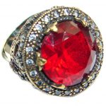 Victorian Style created Ruby & White Topaz Sterling Silver ring; s. 6 1/2