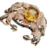 Spectacular Genuine Citrine Rose Gold Rhodium plated over .925 Sterling Silver Bracelet / Cuff