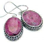 Trendy Ruby .925 Sterling Silver handmade earrings