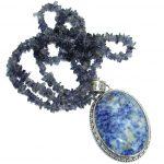 Incredible genuine Sodalite Iolite .925 Sterling Silver handmade necklace