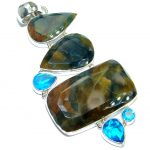Huge Genuine Golden Pietersite .925 Sterling Silver handmade pendant