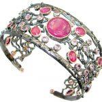 Huge Luxury Genuine Ruby Gold over. 925 Sterling Silver handmade Cuff/Bracelet