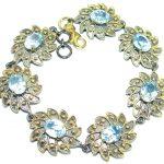 Floral Design Swiss Blue Topaz Gold over .925 Sterling Silver handmade Bracelet