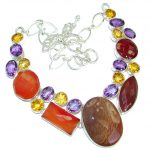 One of the kind Nature inspired Mexican Agate .925 Sterling Silver handmade necklace