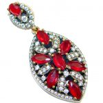 Victorian Vintage Style created Ruby Two tones .925 Sterling Silver Pendant