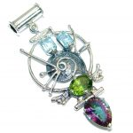 From the sea Multigem .925 Sterling Silver handmade Pendant