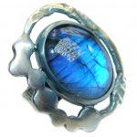Avangarda Fire Labradorite oxidized .925 Sterling Silver handmade ring size 7 adjustable