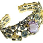 Enchanted Garden Authentic Amethyst Two Tones .925 Sterling Silver handmade Bracelet / Cuff