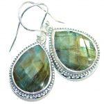 Perfect genuine Labradorite handmade .925 Sterling Silver handmade earrings