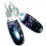 Precious genuine Purple Charoite .925 Sterling Silver handmade earrings