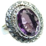 Vintage style Unique Style Amethyst Sterling Silver ring; s. 7 3/4