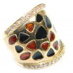 Genuine Onyx Garnet Gold over .925 Sterling Silver handmade Ring size 5 1/2