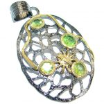 Unique design authentic Peridot .925 Sterling Silver Pendant