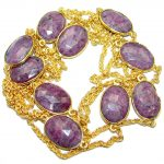36 inches Genuine Ruby Stones Gold plated over .925 Sterling Silver handcrafted Necklace