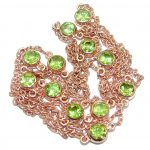 36 inches genuine Peridot Rose Gold plated over .925 Sterling Silver handmade Station Necklace