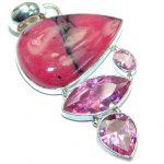Amazing Pink Rhodonite .925 Sterling Silver handmade Pendant