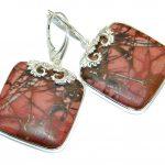 Bold natural Pink Rhodonite .925 Sterling Silver handmade earrings
