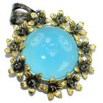 Blue Aura Chalcedony Agate .925 Sterling Silver handmade Pendant