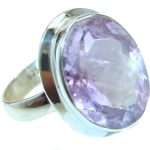 Genuine faceted Pink Amethyst .925 Sterling Silver handmade ring size 8