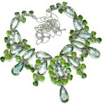 Luxury Genuine Green Amethyst .925 Sterling Silver handmade Necklace