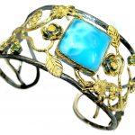 Blue Harmony genuine Larimar .925 Sterling Silver handcrafted Bracelet / Cuff