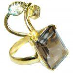 Huge Smoky Topaz gold over .925 Sterling Silver Statement ring s. 7 adjustable