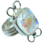 Dichroic Glass .925 Sterling Silver handmade ring size 8 3/4