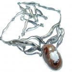 Large Master Piece genuine Mexican Opal .925 Sterling Silver brilliantly handcrafted necklace