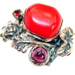 Gorgeous natural Fossilized Coral Gold over .925 Sterling Silver handmade ring s. 7