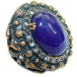 Spectacular created Sapphire & White topaz Sterling Silver Ring s. 7 3/4