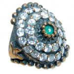 Victorian Style created Emerald & White Topaz Sterling Silver Ring s. 6 3/4