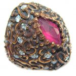 Large Victorian Style created Ruby & White Topaz Sterling Silver ring; s. 5 1/4