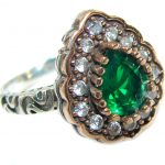Victorian Style created Emerald & White Topaz Sterling Silver Ring s. 8 1/4