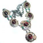 Fine Art Genuine Garnet 14K Rose Gold over .925 Sterling Silver handmade necklace