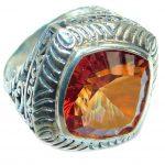 Rich design Intense Red Quartz .925 Sterling Silver handmade Ring s. 8