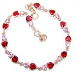 Chic Pink Topaz Rose Gold over .925 Sterling Silver handmade Bracelet