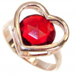 Exotic Red topaz Rose Gold over .925 Silver handcrafted Ring s. 7 1/4