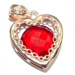 Perfect Red Topaz 14K Rose Gold over .925 Sterling Silver handcrafted Pendant