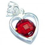 Perfect LOVE Red Topaz .925 Sterling Silver handcrafted Pendant