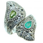 Emerald Peridot .925 Sterling Silver handmade Cocktail Ring s. 6 1/4