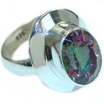 Bold Exotic Magic Topaz .925 Sterling Silver handmade Ring s. 7 1/2